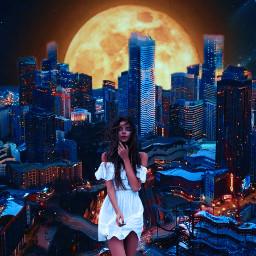 girl urban moon freetoedit
