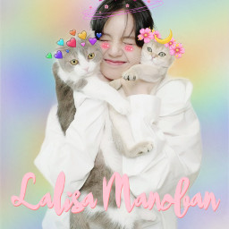freetoedit blackpinklisa kawaii cats fanartkpop