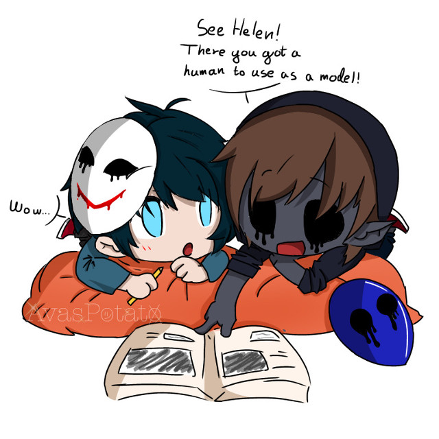 """Hewo again fellas! Its me The Frog Obsessed Potato-Pasta Alien   It was my birthday 2 days ago! :D.   Again: a new 🌸🔪✨ChibiPasta✨🔪🌸 edit  We goooot Helen (Bloody Painter) and Eyeless Jack!   I feel they also would have a really iconic friendship, so hEaR Me OuT!  We all know Helen loves to draw human death scenes or just generally draw, right? Okey so Ej has this big shee anatomy book, to just an exemple know how to sample kidneys without leaving a trace left.... 👀 Yeye anyways so Helen would come a lot to Ej and ask how to draw a realistic shaped human or just as simple as a hand if he struggled They would sit on this peachy orange bean bag sack and look at pictures! 🥺🌸✨💕💖🍃👑🗝✨💖🍃💖🌸💕  I cant— This is too cute headcannon— -sniff-  Okey my eyes are not sweating—  ˚✧₊⁎ 𝙀𝙙𝙞𝙩𝙞𝙣𝙜 𝙞𝙣𝙛𝙤 ⁎⁺˳✧༚ 🍄𝘿𝙖𝙩𝙚: 3rd of May 🍃𝙏𝙞𝙢𝙚 𝙖𝙣𝙙 𝙩𝙞𝙢𝙚 𝙪𝙨𝙚𝙙: 4 PM and 6 hours and 13 minutes sheeesh 🗒𝙇𝙖𝙮𝙚𝙧𝙨: 17  ✨𝙋𝙧𝙤𝙪𝙙 𝙛𝙧𝙤𝙢 1-10: 9.9– thats it 9.9 🎻𝙄𝙣𝙨𝙥𝙞𝙧𝙖𝙩𝙞𝙤𝙣/𝙊𝘾 𝙗𝙖𝙘𝙚 𝙞𝙛 𝙪𝙨𝙚𝙙: https://pin.it/7fset3t 🎨𝙄𝙣𝙛𝙤: It's Bloody Painter and Eyeless Jack! I'm like really proud of this one -w-"""" ・*:.。..。.:*・.。. .。.:*・°・*  Lol my last post with Ben and Toby got 5 lukes on over 3 days— yey— Baibai!! Thanks for reading!   @jadxn- @-floofy @cherriyanyg____ @olli-kun @_amgie_ @wisteria_skies @-sxlv3r__ @-_kyoto_- @-_bxby_angxel_- @__antiqii @__m0nster @_mooberruwu_ @-claxre__ @psychic_friend_fred   #Creepypasta #creepypastaedit #Helen #bloodypainter #bloodypaintercreepypasta  #Jack #eyelessjack #eyelessjackcreepypasta #chibipasta #edit #bloodypainteredit #eyelessjackedit #orange #orangebeanbag #beanbage #anatomy #anatomybook #book #Heleneyyyy #Jackieeeee #avaspotatoedits #ihadbirthday #3rdmay #lastpostgot5likes"""