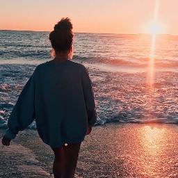 sunset girl beach pretty
