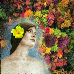 freetoedit picsart art multicolor flowers interesting girl beautifulwork criativ colors green remixit remixed