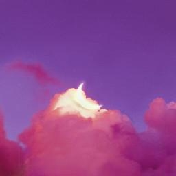 moon sky aesthetic madewithpicsart pinkclouds magic cloudysky curvestool purple madebyme