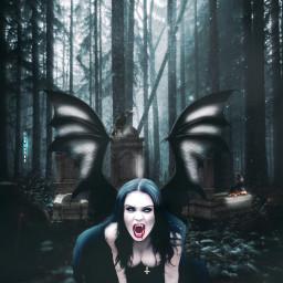 freetoedit manipulation heypicsart vampire dark forest creepy madewithpicsart inspiration colochis89