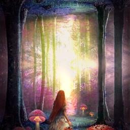 freetoedit surreal fantasy mirrortool colorful forest mushrooms