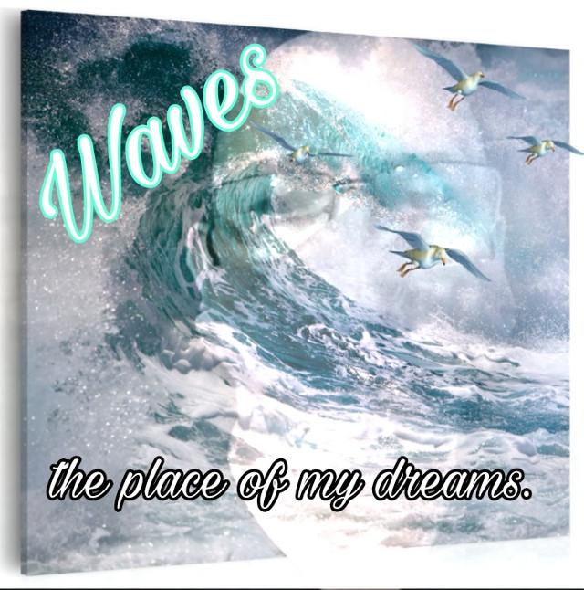 Uma praia com ondas assim. Esse é um lugar dos meus sonhos... #place #wave #dreams  #remixed de @tita-a
