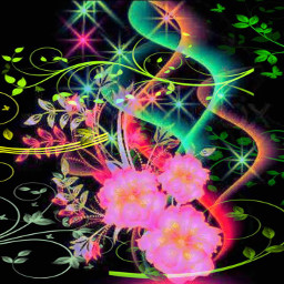 flowers abstract plants lines design colorful