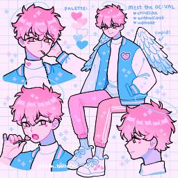fresh_bobatae cute pinkbluewhite hearts angel sweet kawaii adorable cupid wallpaper lolipop anime animestyle backround sparkles boy