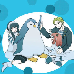 spyxfamily cute credittotheorginalartist penguin familygoals manga anume fanart adorable yorxloid anyaforger polkadot blue oceanblue sea backround wallpaper