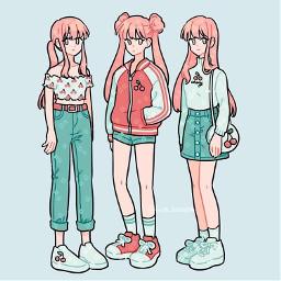 fresh_bobatae cute trio girlies cherryaesthetic mintgreenaesthetic pastelblue animestyle anime kawaii starwberryblonde clothesmoodboard vibe cherrylblossom adorable fashionista girlsday