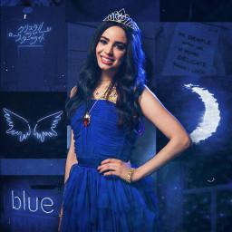 evie blue decsendants eviedescendants bluecollage collage aesthetic sofia sofiacarson moon wings freetoedit