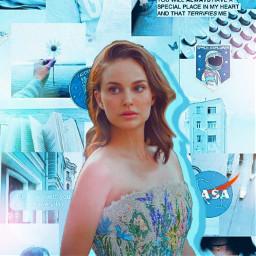 blue natalie natalieportman blueaesthetic aesthetic collage bluecollage actress rolemodel girl celebrity freetoedit