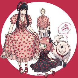 spyxfamily yorxloid anyaforger redaesthetic anime animestyle mang strawberry cake matchingoutfits starwberrycutie kawaii adorable pink dress familygoals wallpaper backround