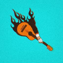 freetoedit vector vectorart music guitar guitarist blue dope deep fire logo uccen