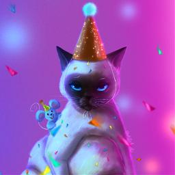 illustration cat mouse party fun drawnbyme colorful confetti creativity