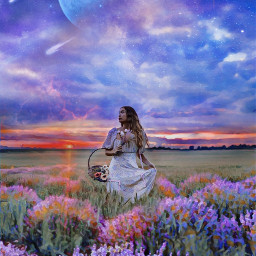blue surreal fantasy landscape flowers nature freetoedit eccolorpaletteclassicblue colorpaletteclassicblue