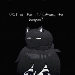 freetoedit black white anime animeboy boy cat nekoma кот мальчик аниме черный белый обоидлятелефона wallpaper надпись text word
