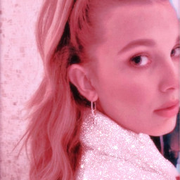 freetoedit milliebobbybrown strangerthings beautifulgirl pink rose paillettes glitter