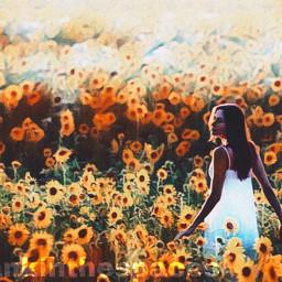 flower girl sunflower sunflowerfield field flowerfield girlwalking prettygirl feast filter