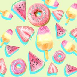 summer fruit circleframe donut strawberry icecream background california art stickerchallenge picsartchallenge picsart cute freetoedit srcinacircle inacircle