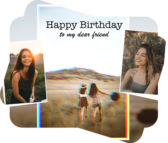 happy birthday to my dear friend text on a collage template