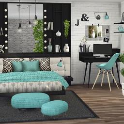 freetoedit background 3d blue bedroom room