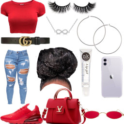freetoedit red cute pretty trendy fashion style gucci lipgloss lashes airmax270 jeans curlyhair loops