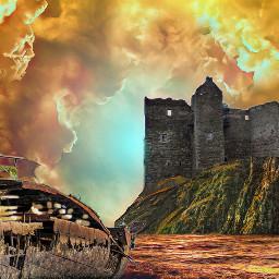 castle sea beach sky artistic