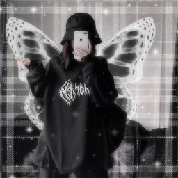 replay editedwithpicsart picsartreplay vsco color aesthetic tumblr girl frame grunge egirl dark blur goth soft blackandwhite butterfly freetoedit