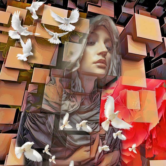 #remixed #edited #cubism #whitedoves #portrait #flowers #fantasy