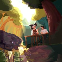 myart ocs people fantasy wizards art digitalart forests water mushrooms plants nature