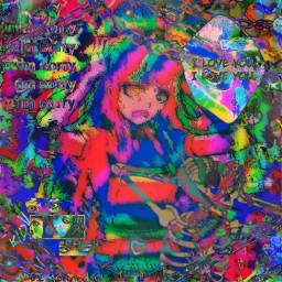 freetoedit danganronpa2 danganronpa anime mikan mikantsumiki glitchcore