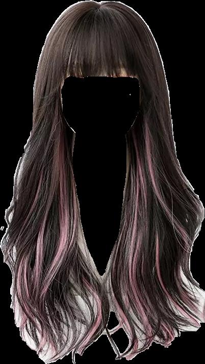 #hair #wig #bangs #brownhair #longhair #longbrownhair #wavyhair #pinkhair #pinkhighlights