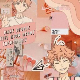 freetoedit haikyu anime pastel peachy peach aethsetic peachyaethsitc japan hinata shoyo hinatashoyo cute