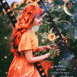 girl lady sunflower movie text farm moon light orange green leaves dress beautiful freetoedit local rctapeandnote tapeandnote