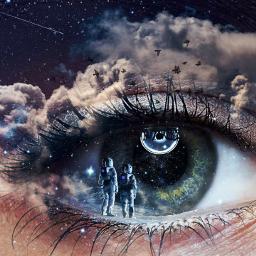 astronaut galaxy eye light dark local fcimaginationsplash imaginationsplash