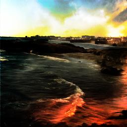 freetoedit landscape sea surreal artistic myedit artisticcolor remix