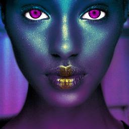 freetoedit portrait futuristic pinkeyes blackisbeautiful fuschiablue