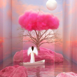 angel girl lady three cloud wayer moon pink light boat beautiful freetoedit picsart ircgentlecloud gentlecloud