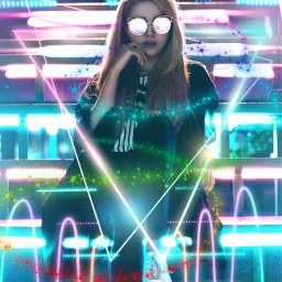 neon girl lady triangles colorful beautiful freetoedit local rcneoneffectreplay neoneffectreplay