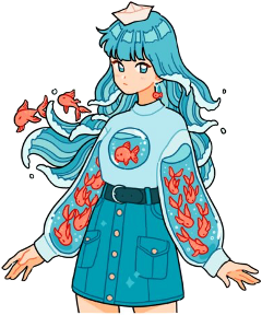 anime art japan aesthetic aesthetics woman girl blue fish fishing fishes blueaesthetic animegirl freetoedit