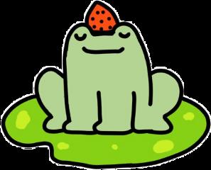 cute art japan frog froggy frogprince frogs green leapfrog strawberry aesthetic sticker kawaii freetoedit