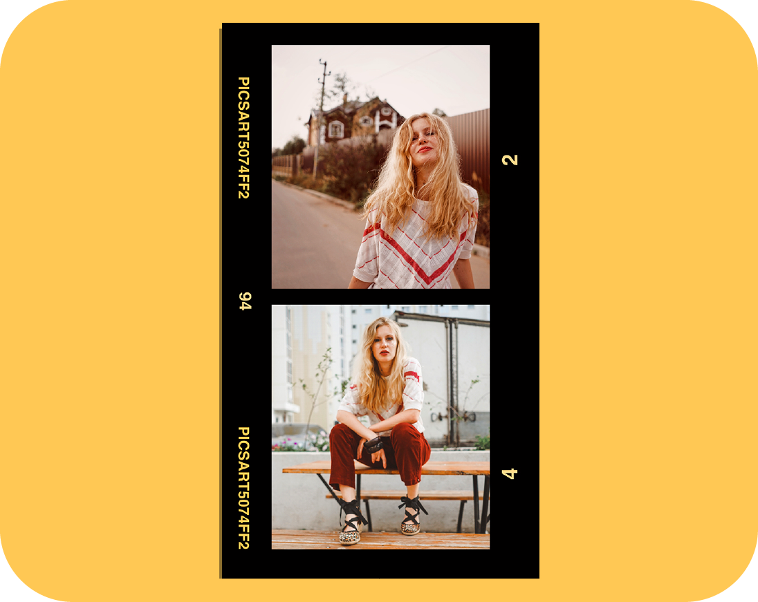 blond hair fashion girl posing in the street and on the bench - image on trendy template