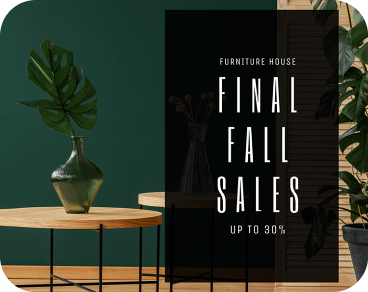 furniture house finale sale - text on a flyer template with side table and plant
