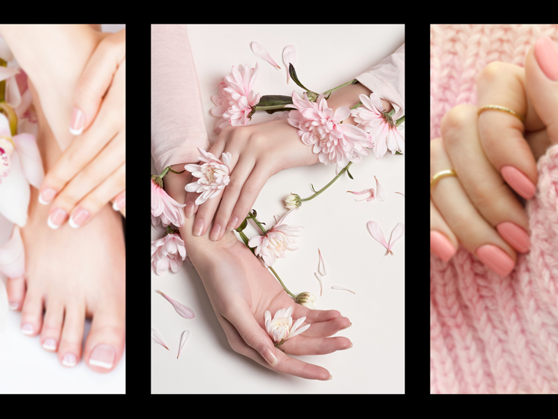 skin care tender hands and feet photo collage