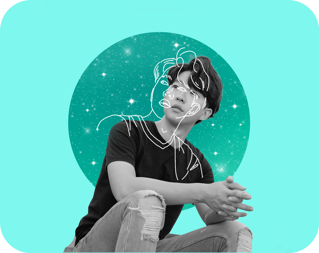 asian boy with sketch photo effect at the sparkling background