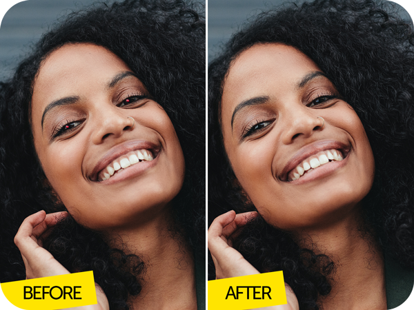happy black hair girl before after image