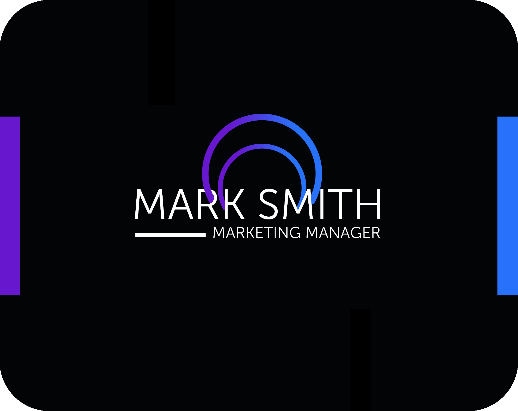 marketing manager's black business card template with neon lights