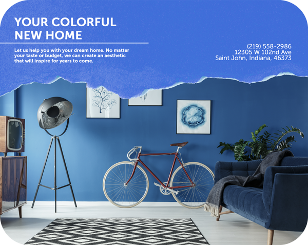 your colorful new home - text on a brochure template with wall images, bicycle and sofa