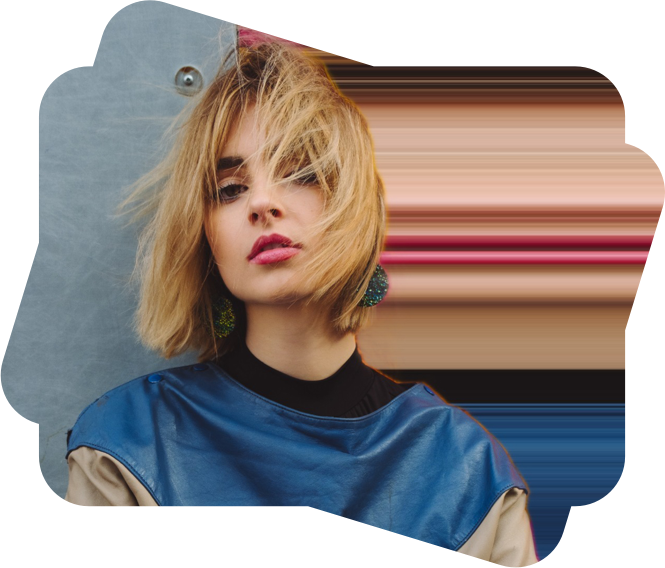 short hair girl with pixel stretch effect