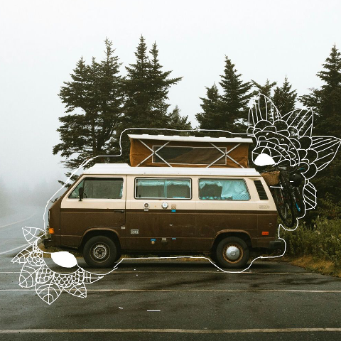 Outlined car photo edit